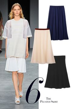 The big skirt is big news for Spring 2014. Shin-grazing, sweeping, majestic—frankly, this skirt is not for everyone. The pleated version, on the other hand, can do all of the above, as well as look crisply modern and be much easier to wear. Look for statement fabrics, either gauzy muslin and chiffon, in light colors or shades of white, like Calvin Klein's (pictured), or Jonathan Saunders's tiered layers, which will float gracefully as you move; or seek out neoprenes and duchesse satins…