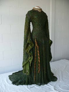 Dress worn by Ellen Terry in her role as Lady Macbeth - completely covered with Beetle-wing embroidery, c1880.