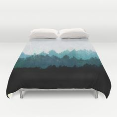Modern pattern, hint of bright blue woth clean white, woodsy, yet bold. Love this duvet. Wpuld be beautiful against the fabric headboard. Woods+Abstract++Duvet+Cover+by+Mareike+Böhmer+Graphics+-+$99.00