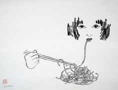 drawing - eating chinese noodles