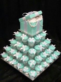 Tiffany blue wedding cupcakes - For all your decorating supplies, please visit http://www.craftcompany.co.uk/