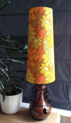 Bespoke Handmade West German Fat Lava Lamp Vintage Fabric Conical Lampshade  (S)