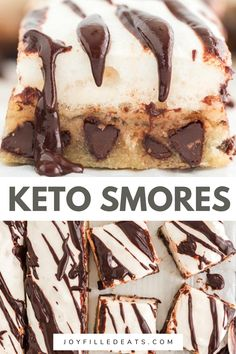 Ooey gooey Keto Smores Bars are dreamy and delicious. Every bite has a shortbread layer that's chewy and full of chocolate chips, topped with a layer of creamy marshmallow, and finally a decadent chocolate drizzle to complete them. And the best part is that they are Keto, Low Carb, Gluten-Free, and Grain-Free too!