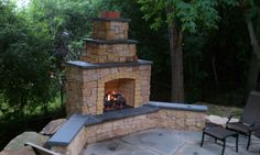 Outdoor gas Fireplaces | Kasota Outdoor Fireplace with Bluestone Caps and Gas Log, Burnsville ...