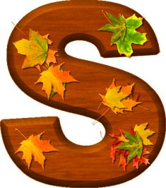 Presentation Alphabets: Cherry Wood Leaves Letter S