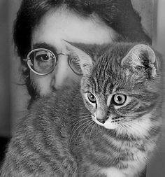 John Lennon and cat