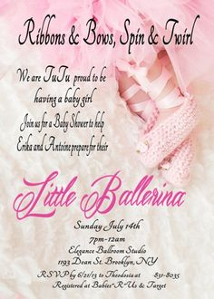 digital file ballerina in a tutu baby shower invitation for girl please scroll down and read for for on