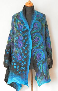 nuno felted silk scarf PEACOCK BLUE art shawl wrap blue scarf art to wear large silk wool scarf, Nuno felt Boho Fiber Art by Kantorysinska
