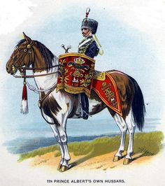 British; 11th Prince Albert's Own Hussars, Kettledrummer, c.1912 from Bands of the British Army by W.J. Gordon and illustrated by F. Stansell