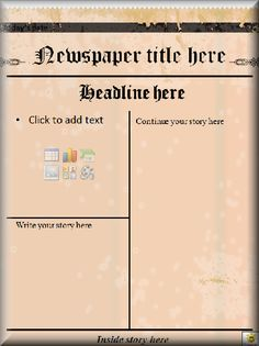 Editable old newspaper template one of a number of nice this microsoft word newspaper template could be used for your students to complete a newspaper book pronofoot35fo Images