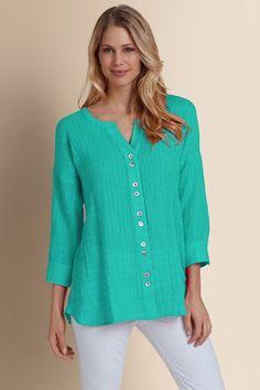 Crinkled Gauze Shirt - Gauze Skirt, Pearl Gauze Skirt | Soft Surroundings