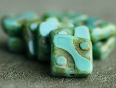 Czech Glass Bead Turquoise Picasso 10mm Square : 10 pc
