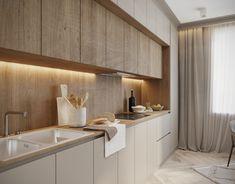 Minimal Kitchen Design, Kitchen Room Design, Kitchen Cabinet Design, Kitchen Layout, Home Decor Kitchen, Interior Design Kitchen, Home Kitchens, Small Modern Kitchens, Behance