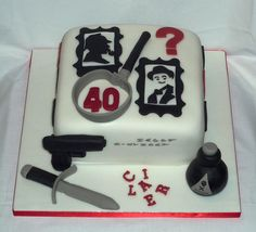 Murder mystery / who done it birthday cake with Sherlock Holmes and Poirot portraits by Eva Rose Cakes