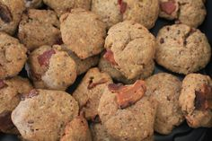 These dog treats are made with wheat flour, ground oats, ground flax seeds, bacon, organic baby food, egg, peanut butter, and a large dash of love!