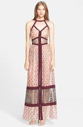 Tamara Mellon Banded Metallic Silk Blend Georgette Gown