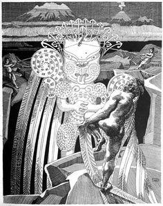 Wilhelm Dittmer - Te Tohunga 1907 - Maui slows the Sun Maori Patterns, Creation Myth, Maori Designs, New Zealand Art, Nz Art, Maori Art, Kiwiana, Tribal Art, Concept Art