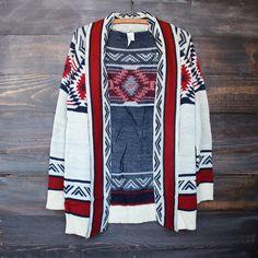 mod lightweight tribal cardigan aztec in rust