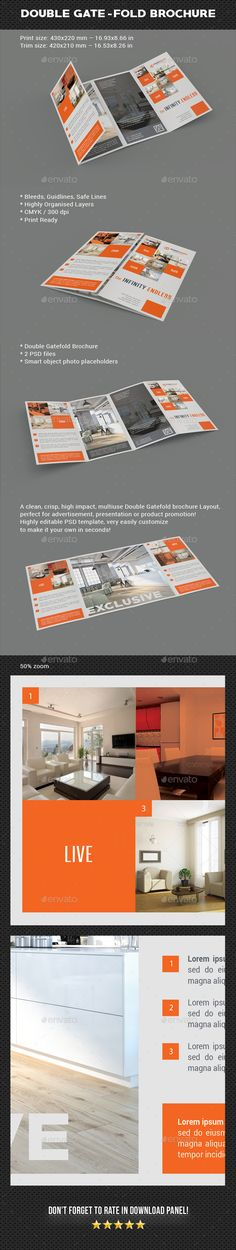 Double Gate-Fold #Brochure - Brochures Print Templates Download here: https://graphicriver.net/item/double-gatefold-brochure/20143715?ref=alena994