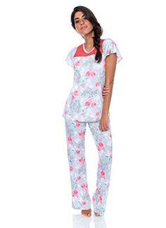 0cc81156 kathy ireland Women's 2 Piece Cap Sleeve Pajama Sleepwear Set with Lace  Detailing at Amazon Women's Clothing store: