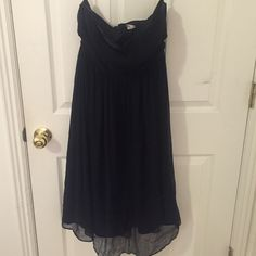 Black strapless dress Sheer black with black silk lining. Worn just a few times. Elastic adjuster strap inside. J. Crew Dresses