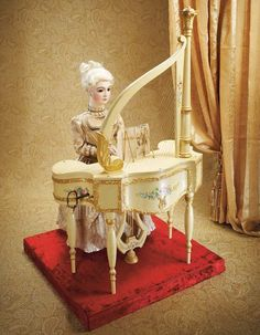"""Splendid French Automaton """"Piano Watteau"""" by Vichy with Bisque Portrait Doll c.1888  Estimate: $30,000/40,000"""