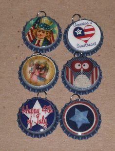 6 Americana Patriotic July 4 USA Blue Bottle Caps Charms Mini Tree Ornaments #4thofJuly