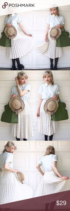 """Leslie Fay Accordion Pleated Skirt Twirl endlessly in this accordion pleated skirt by Leslie Fay. Of a lacy, dotted Swiss-like fabric -  airy and not too thick for summer days. Delicate yet durable.                                                                        ※ length: 28"""" waist: 28"""" Vintage Skirts Midi"""