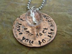'Hand Stamped I love you to the moon and back Necklace' is going up for auction at  9am Mon, Jul 16 with a starting bid of $15.     Please RE-PIN!!