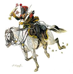 French; 4th Chasseurs a Cheval, Trumpeter, Cent Jours, 1815.by Patrice Courcelle