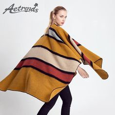 Winter Striped Cashmere Poncho Cape Women Scarf Shawls Wrap $36.73 => Save up to 60% and Free Shipping => Order Now! #fashion #woman #shop #diy www.scarfonline.n...