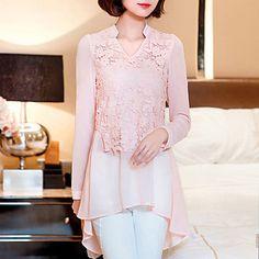 Women's+New+Fashion+V+Collar+Lace+Chiffon+Long+Sleeve+Blouses+–+USD+$+15.99