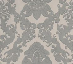 Pegasus (W6540-06) - Osborne & Little Wallpapers - A majestic winged horse motif has been used to create this classic damask design edged with a contrasting flash of colour. Shown here in the metallic silver on taupe with grey. Please request a sample for true colour match.