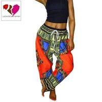 Wish | Women Wide Leg Pants African Dashiki Print Trousers Female Loose Drawstring Waist Baggy Palazzo Pants
