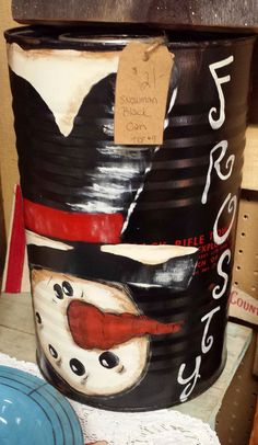 I've been busy painting up some Snowmen to fill the places where I sell my items This is an old Black Powder  canister...Quite la...