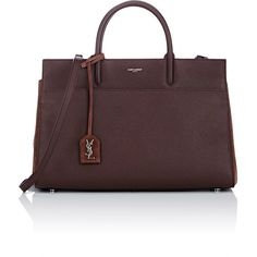 Saint Laurent Women's Rive Gauche Tote Bag (€2.320) ❤ liked on Polyvore featuring bags, handbags, tote bags, burgundy, burgundy tote bag, red tote handbag, yves saint-laurent tote, handbags totes and red purse