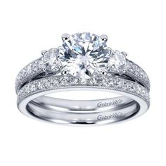ENGAGEMENT - 1.75cttw 3-Stone Plus Trellis Diamond Engagement Ring With Bead Set Side Diamonds