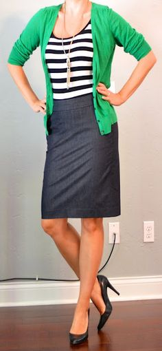 Business wear: kelly green cardigan, striped tank, denim pencil skirt