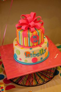 Polka dot cake at a girl Birthday Party! See more party ideas at CatchMyParty.com!