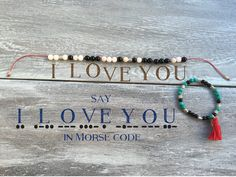 Don't just say I LOVE YOU...spell it out! Morse code Mala bracelet - meditate + manifest with reiki charged gemstones with a secret message to yourself, the universe or that someone special.... Rose Q