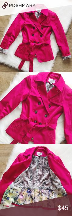 SALEH&M Pink Jacket Gorgeous jacket in pink color, two front pockets, frontal button closure, shell: 65% polyester, 35% cotton, floral lining 100% polyester. Wore it maybe once, looks brand new, spare buttons attached. Size 2 in H&M fits like 00/0 XXS/XS, check their website for sizing or ask for measurements.                            FINAL PRICE                 10% off 2 items or more!                             •NO TRADING                             •smoke free H&M Jackets & Coats