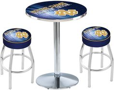 Notre Dame Fighting Irish ND D2 Black Pub Table Set. Available in two table widths.  Visit SportsFansPlus.com for Details.