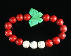 Z441 Howlite Turquoise Green Butterfly White Red Ball Bead Stretch Bracelet