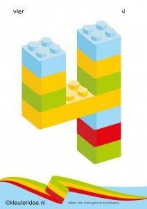 Cijfers van lego 1 -10 voor kleuters, nummer 4 , kleuteridee.nl , lego numbers for preschool 1-10 , free printable.