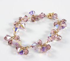Swarovski Light Amethyst Crystal Bracelet, Lavender, Light Purple Bracelet, Gold, Unique Gifts for Her
