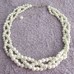Ivory pearl Necklace,Wedding Ivory Pearl Necklace,Wedding Necklace,Bridesmaid Necklace,Braided Necklace, Pearl Necklace,Free Shipping USA