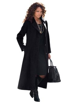 Roamans Womens Plus Size Classic Long Wool Blend Coat