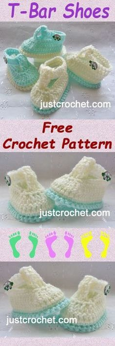 Free baby crochet pattern for T-Bar shoes. #crochet