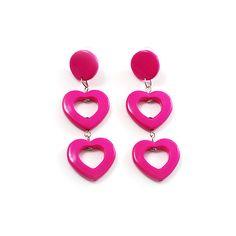 Funky Plastic Drop Heart Earrings (Neon Pink) ($6.03) ❤ liked on Polyvore featuring jewelry, earrings, pink, accessories, women, pink jewelry, neon pink earrings, pink heart earrings, plastic earrings and pink drop earrings