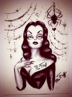 Watercolor of Vampira with a black widow spider offering her  a heart. Original art by Miss Fluff/ Claudette Barjoud